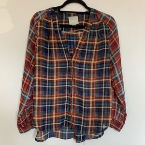 Maeve Anthropologie Plaid Blouse